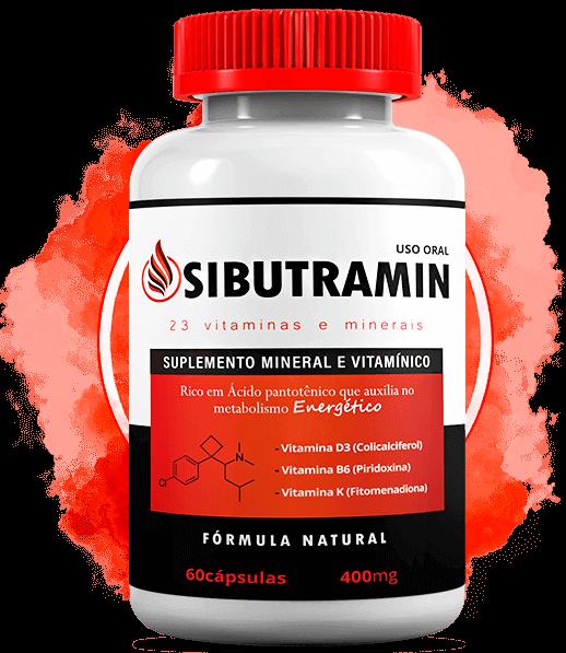 Sibutramin sendo representado por um pote branco que contém as cápsulas do produto